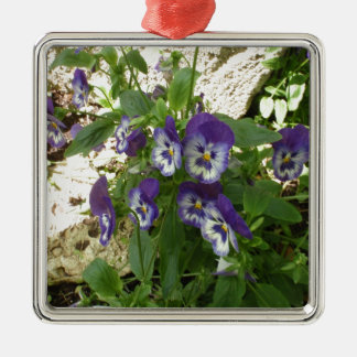 Blue Pansy Christmas Ornament
