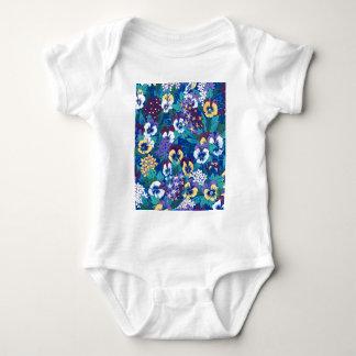 Blue Pansy Design Baby Bodysuit