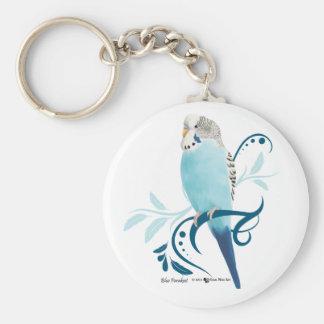Blue Parakeet Basic Round Button Key Ring