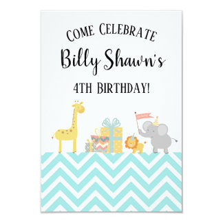 Blue Party Animals Safari B-Day Invites