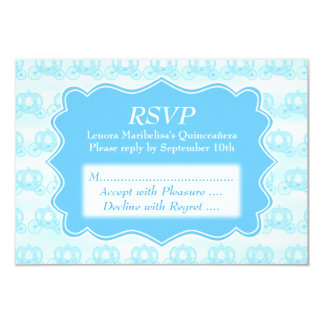 Blue Pastel Carriages Quinceanera Card