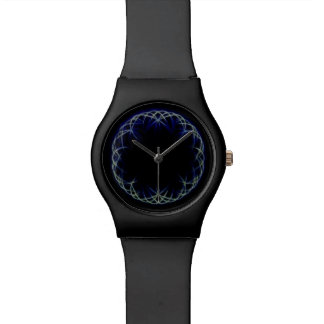 blue pattern design watch