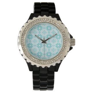 blue pattern wristwatch