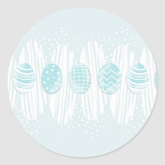 blue patterned Easter eggs on blue Round Sticker