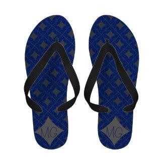 blue patterns flip flops