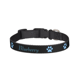 Blue Paw print Dog Collar