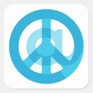 Blue @Peace Sign Social Media At Symbol Peace Sign Square Sticker