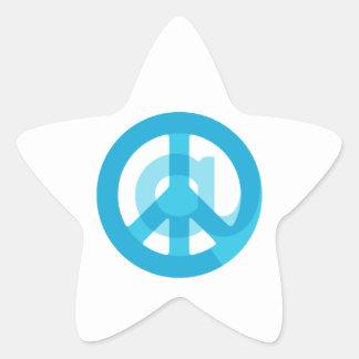 Blue @Peace Sign Social Media At Symbol Peace Sign Star Sticker