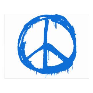 Blue Peace Sign Symbol Postcard