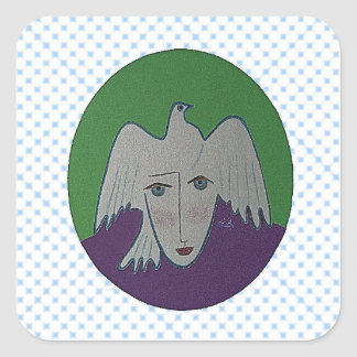 Blue Peaceful Face Collage Square Sticker