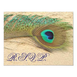blue peacock  rsvp cards 11 cm x 14 cm invitation card