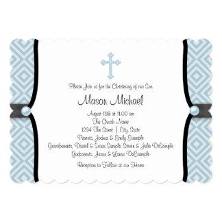 Blue Pearl Cross Black Blue Christening Card