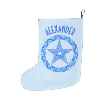 Blue Pentagram Symbol Pagan Wicca New Age Large Christmas Stocking