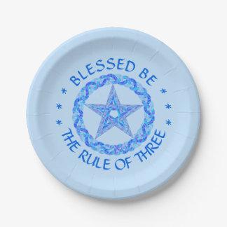 Blue Pentagram Symbol Pagan Wicca New Age Paper Plate