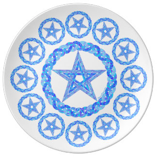 Blue Pentagram Symbol Pagan Wicca New Age Plate