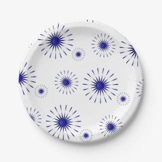 blue petals paper plate