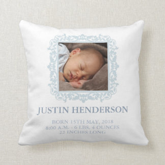 Blue Photo Baby Stats Pillow