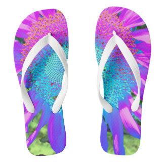 Blue Pink and Purple Sunflower Jandals