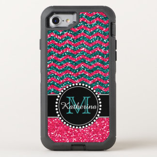 Blue & Pink Glitter Chevron Personalised Defender OtterBox Defender iPhone 8/7 Case