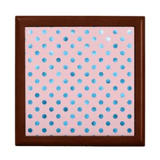 Blue Pink Metallic Faux Foil Polka Dot Swiss Dots Gift Box