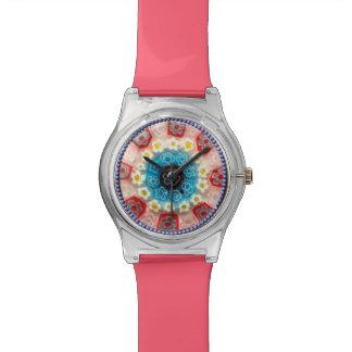 Blue & Pink Millefiori Flower Bead Coral Watch