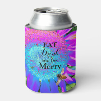 Blue Pink purple Sunflower with honey bee Can Cooler