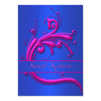 Blue Pink Swirl Sweet Sixteen Party Invitation
