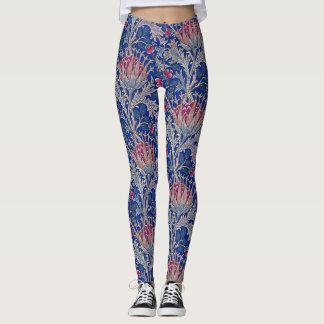 blue pink thistle leggings