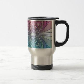 Blue Pink Vintage Abstract Geometric Pattern Mug