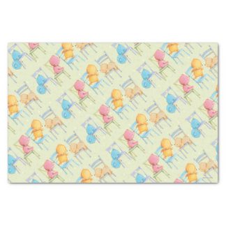 Blue, Pink, Yellow, and Brown Bears Play Tissue Paper