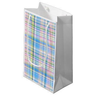 Blue Pink Yellow Wht Preppy Madras Small Gift Bag