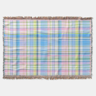 Blue Pink Yellow Wht Preppy Madras Throw Blanket