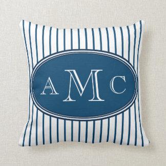Blue Pinstripes Monogram Pillow