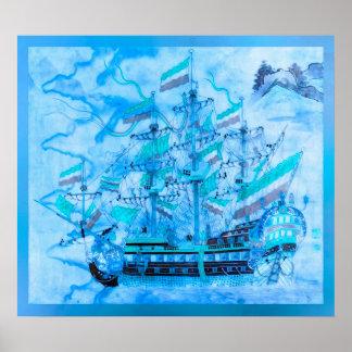 Blue Pirate Ship Nautical Ocean Waves Poster