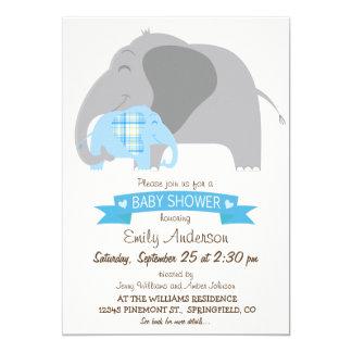 Blue Plaid Baby Elephant Baby Shower 5x7 Paper Invitation Card