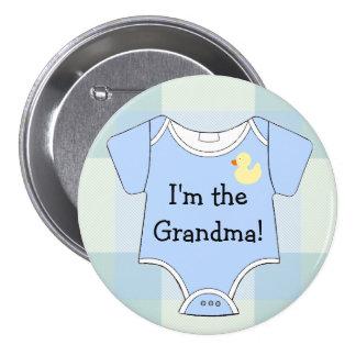 Blue Plaid Baby Shower Grandma 7.5 Cm Round Badge