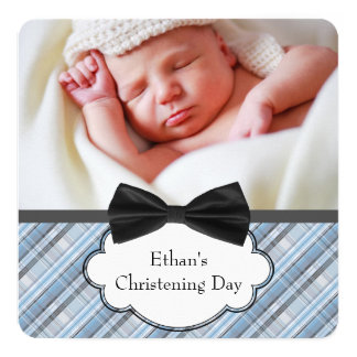 Blue Plaid Christening Card