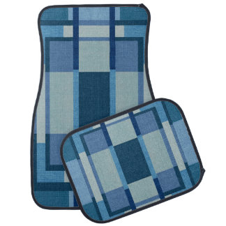 Blue Plaid Print Design Set of 4 Car Mats