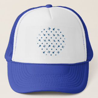 Blue Planes Pattern Trucker Hat