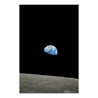 blue planet from moon space poster