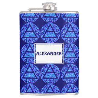 Blue Plato's Air Sign New Age Triad Symbol Custom Hip Flasks