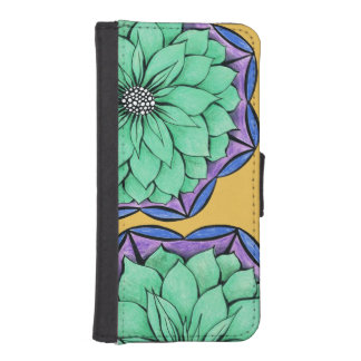 BLUE POINSETTIA Design iPhone SE/5/5s Wallet Case