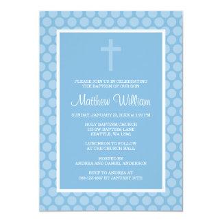 Blue Polka Dot Cross Boy Baptism Christening Card