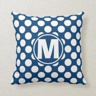 Blue Polka Dot Monogram Throw Cushion
