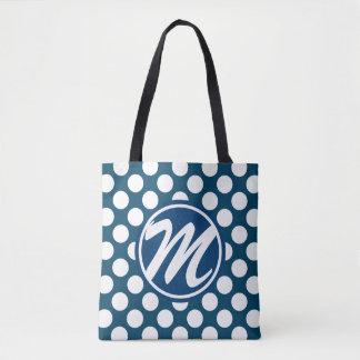 Blue Polka Dot Monogram Tote Bag
