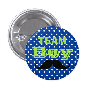 Blue Polka Dot Team Boy Baby Shower 3 Cm Round Badge