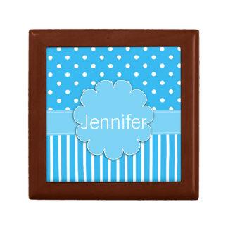 Blue Polka Dots and Stripes Tile Box