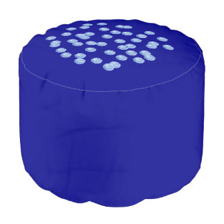 Blue Polka Dots Polyester Round Pouf