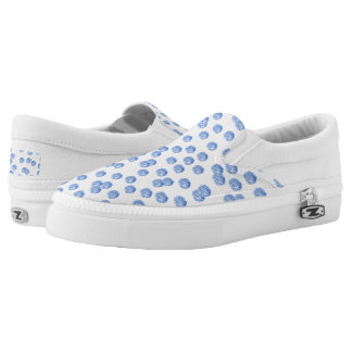 Blue Polka Dots Slip On Shoes Printed Shoes