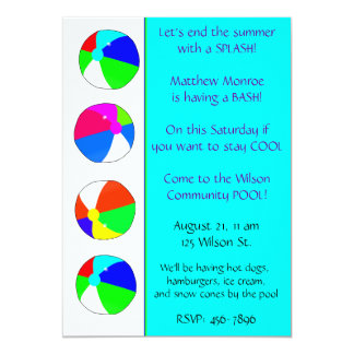 Blue Pool Party Invitation